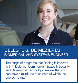 Graduate speaking with a Boeing employee
