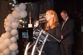Boeing Phantom Works International Chief Operating Officer (COO) Jane Hunter honoured at the A18 Airspace Awards.