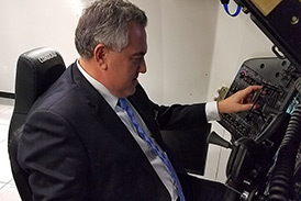 Ambassador Joe Hockey visited Boeing in Houston, where he took the controls of a Boeing CST-100 Starliner simulator. His destination: the International Space Station.